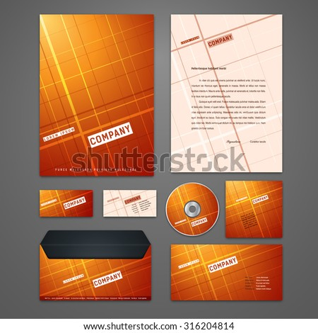 Kit of geometric identity solutions for corporate or business which includes CD cover, business card, letter head designs. All in EPS10 - stock vector