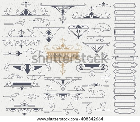Kit of 55 Vintage Elements for Invitations, Banners, Posters, Placards, Badges or Logotypes. - stock vector