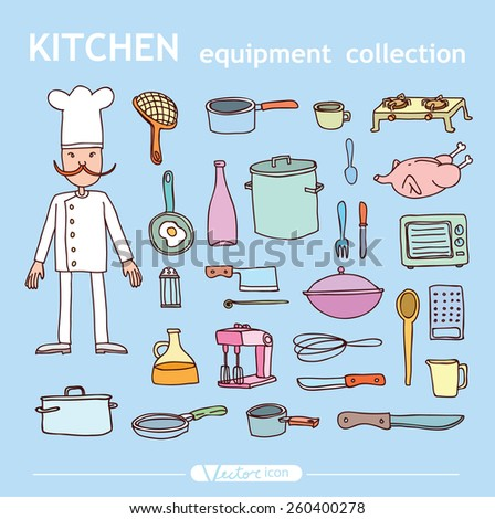 Kitchen and cooking elements - stock vector