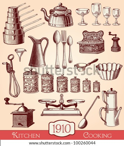 Kitchen and cooking elements  - vintage engraved illustration - Catalog of a French department store - Paris 1909 - stock vector
