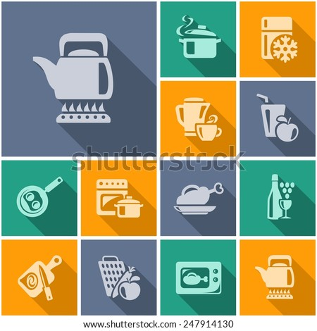 Kitchen and cooking flat icons