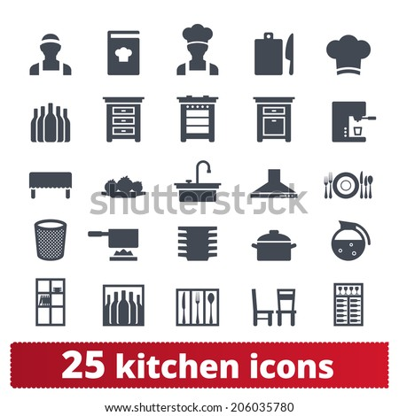 Kitchen and cooking icons: vector set home and restaurant signs. Appliance, furniture and cooking battery. - stock vector