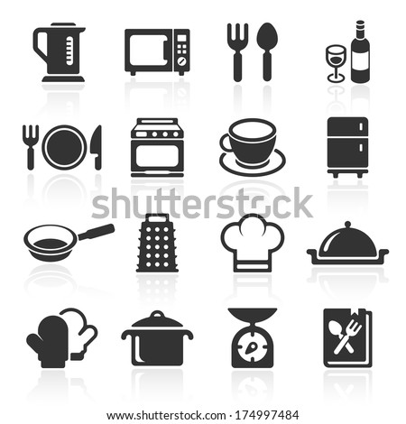 Kitchen and cooking icons white. Vector illustration - stock vector