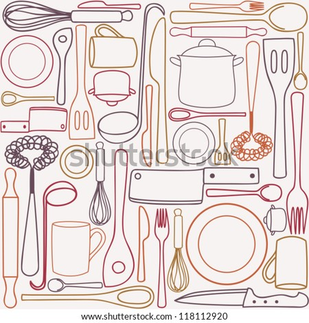 Kitchen and cooking utensils and cutlery - seamless pattern. kitchen tool and utensil. ; cooking vector drawing. kitchen accessory set pattern. - stock vector
