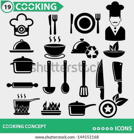 Kitchen and Food icons,vector - stock vector