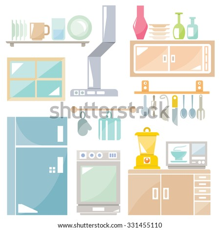 kitchen and furniture icons, household appliance set - stock vector