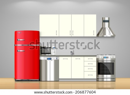 refrigerator and stove. kitchen and house appliances: microwave, refrigerator, gas stove, dishwasher, range cooker refrigerator stove