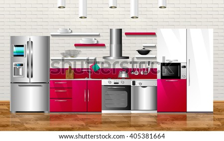 Kitchen and house appliances. Vector illustration design. Household kitchen appliances: cabinets, shelves,gas stove, cooker hood, refrigerator, microwave, dishwasher, cookware - stock vector