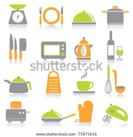 Kitchen and household Utensil Icons - stock vector