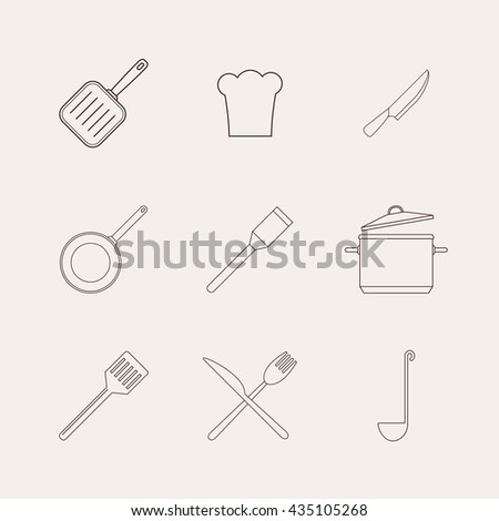 Restaurant Kitchenware kitchen utensils cooking seamless background frying stock vector