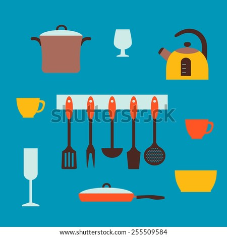 Kitchen and restaurant icon set of utensils. - stock vector