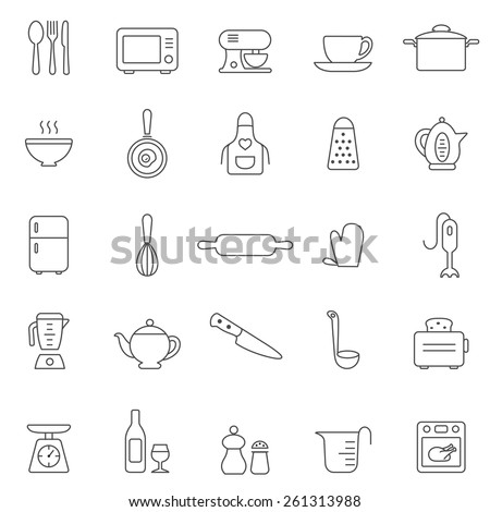 Kitchen and Utensil line icon set. Vector - stock vector