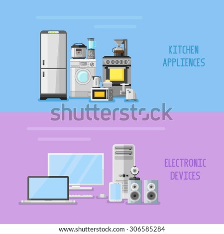 Kitchen appliances and electronic devices horizontal banners. Flat style vector illustration. - stock vector