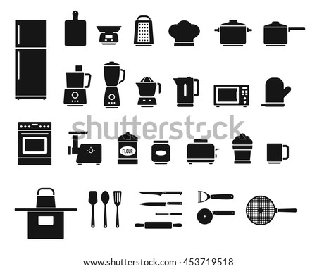 Kitchen appliances and utensils, electrical equipment and tools isolated on white background. Vector icons set - stock vector