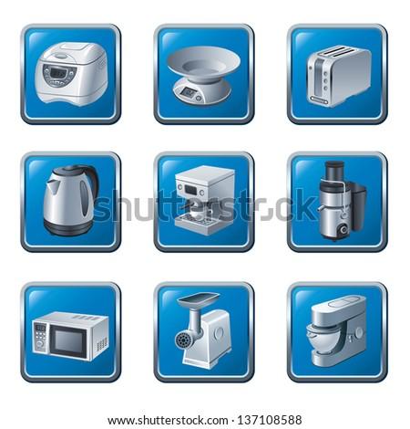 kitchen appliances buttons icon set - stock vector