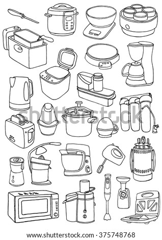 Kitchen appliances doodle set. Cartoon hand-drawn household appliances for cooking - stock vector