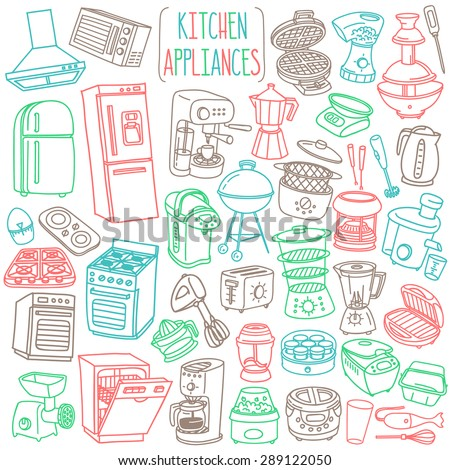 Kitchen appliances doodle set. Various cooking equipment and facilities - major and small appliances, consumer electronics, kitchenware. Freehand vector sketches isolated over white background. - stock vector