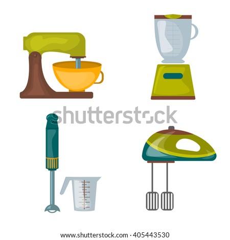 Kitchen appliances food processor kitchenware mixer hand blender electric equipment vector. Kitchenware electric equipment kitchen appliances kitchen appliances household cooking utensil. Kitchenware. - stock vector