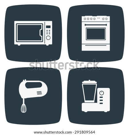Kitchen Appliances Icons - stock vector