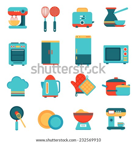 Kitchen appliances icons set with toaster mixer dish frying pan isolated vector illustration - stock vector