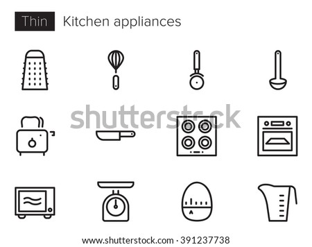 Kitchen appliances Vector icons set Thin line outline