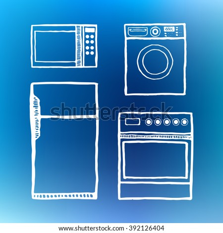 Kitchen appliances: washing machine, microwave gas stove refrigerator. Vintage style, hand drawn, pen and ink. Retro handcrafted design element.  - stock vector