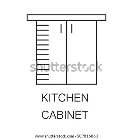 Kitchen Cabinet Icon High Quality Outline Stock Vector HD (Royalty ...