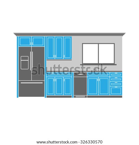 Kitchen cabinets with refrigerator dishwasher and sink for Cartoon kitchen cabinets