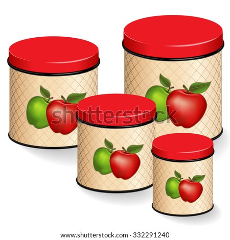 Kitchen Canisters Set. Red and Green Apple design on lattice background. Group of four food storage containers with lids in small, medium, large sizes, isolated on white. EPS8 compatible.  - stock vector