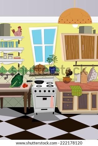 kitchen cartoon style background - stock vector