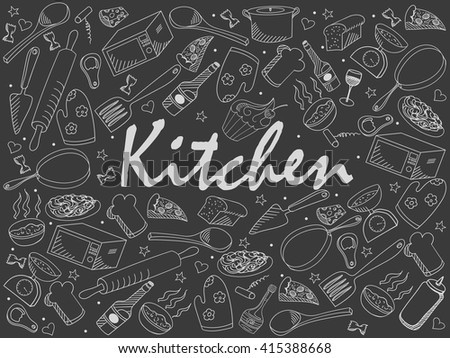 Kitchen chalk line art design vector illustration. Separate objects. Hand drawn doodle design elements. - stock vector