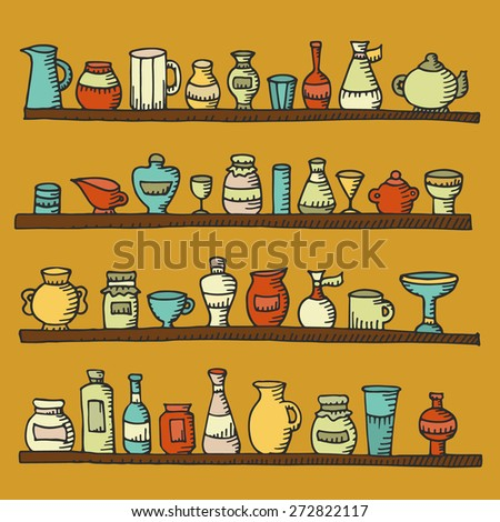 Cartoon kitchen bar stock photos royalty free images for Kitchen set drawing