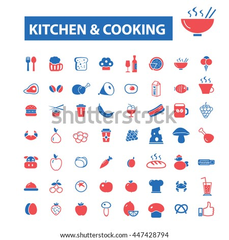 kitchen cooking concept icons: hotel services, menu, dining, pizza, bill, beer, cafe, fast food, cafeteria, beverage, hot dog, bbq, pub, meat meal, drinks. Vector illustration - stock vector