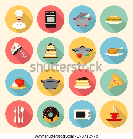 kitchen, cooking, restaurant  and food flat style icons set. template elements for web and mobile applications - stock vector