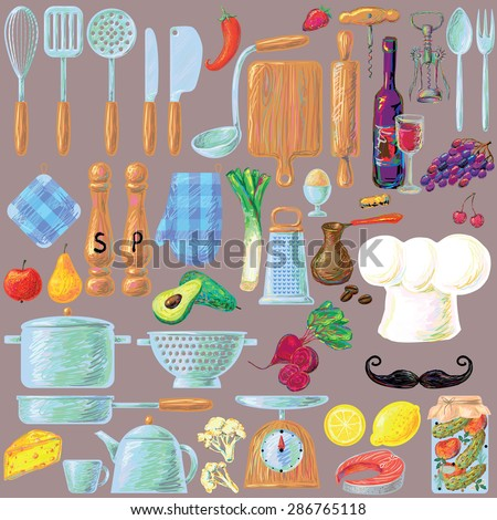 Kitchen cooking utensils and food set in retro style. Chef's hat and mustache. Stylish vector design elements: pepper-box, fork, spoon, bowl, pan, scales, colander, knife and others - stock vector
