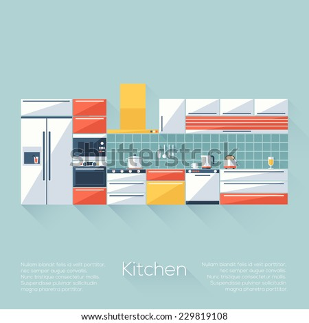 Kitchen Cover with Fridge, Stove, Dishwasher, Toaster and Microwave. Flat style with long shadows. Modern trendy design. Vector illustration. - stock vector