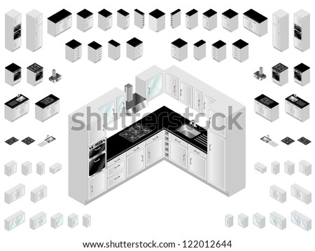 Kitchen design elements. Large selection of isometric kitchen units for room layout and design. - stock vector