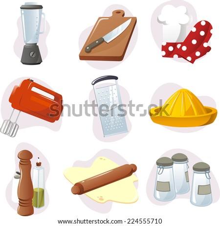 Kitchen design elements vector cartoon illustration - stock vector
