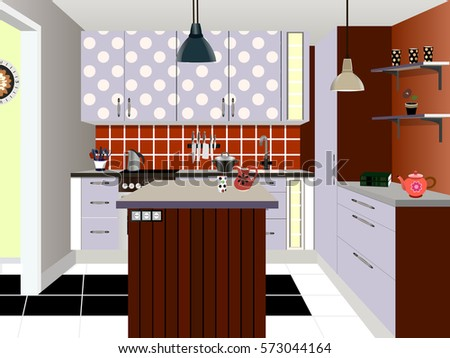 Kitchen interior stock vector 533934262 shutterstock for Interior design kitchen symbols