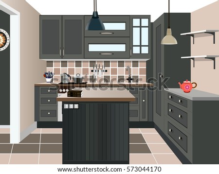Kitchen Design ,kitchen Icon,interior Room, Symbol Furniture,kitchen  Illustration