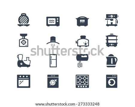 Kitchen electric appliances icons set - stock vector