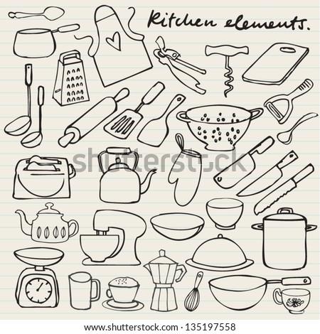 Kitchen elements doodle - stock vector