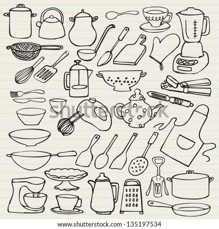 Kitchen elements doodle vector - stock vector