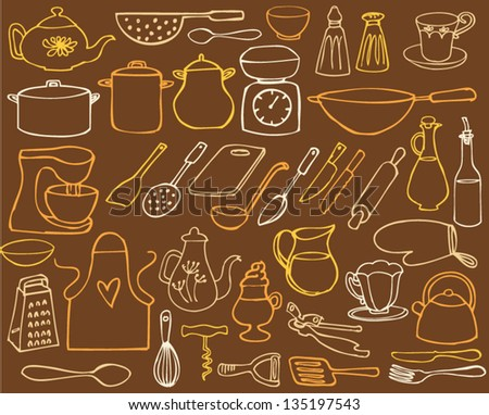 Kitchen elements drawing vector