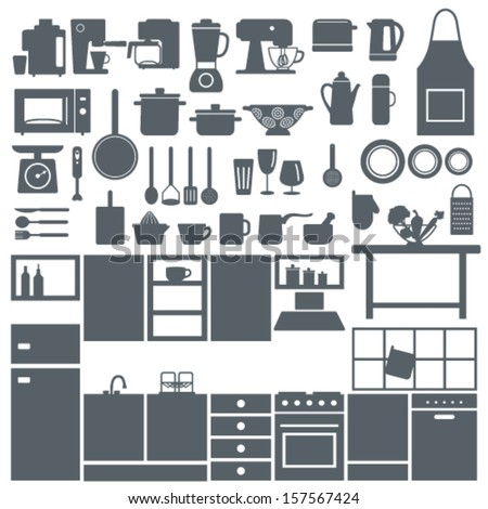 Kitchen elements silhouette icons set - stock vector