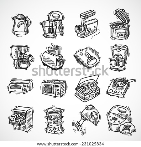 Kitchen equipment and appliances sketch decorative icons set with toaster coffee machine blender isolated vector illustration - stock vector