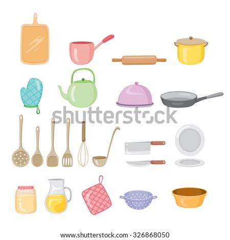 Kitchen Equipment Icons Set, Kitchen, Kitchenware, Crockery, Cooking, Food, Bakery, Lifestyle - stock vector