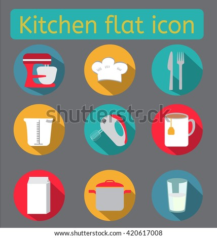Kitchen flat icon set.