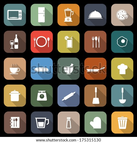 Kitchen flat icons with long shadow, stock vector - stock vector