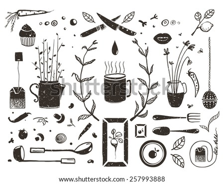 Kitchen Food and Drinking Tea Cosy Design Elements on White. Eat and Drink black and white rustic objects collection. Vector EPS10. - stock vector